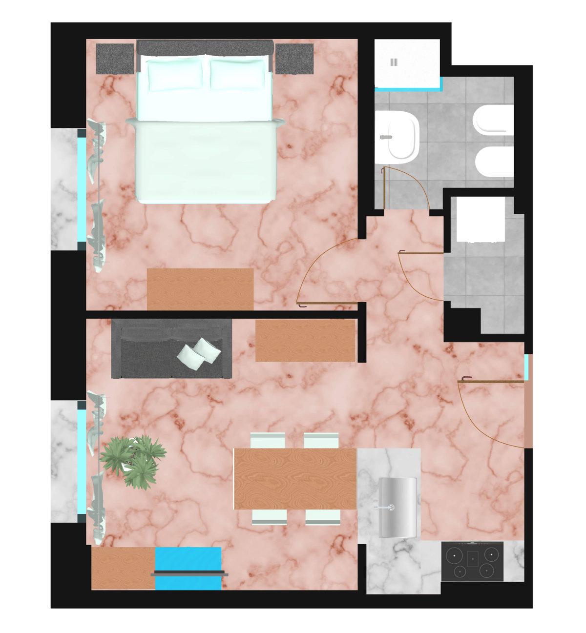 piantina-appartamento-i-portici | Ugo Bassi Apartments